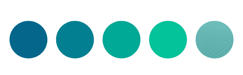 A soothing color palette in shades of green, turquoise, and blue