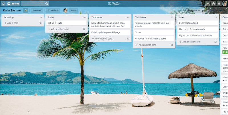 Screenshot of my Trello board that shows my daily task system